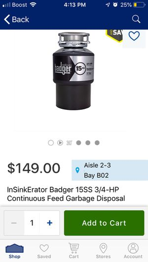 InSinkerator Badger 15SS 3/4-HP Continuous Feed Garbage Disposal for Sale in Lithonia, GA
