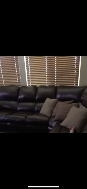 All leather sectional with end recliners for Sale in Calimesa, CA