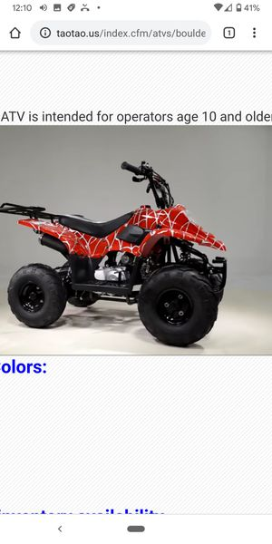 Huge savings boulder Tao ATV new. Order at turbopowersports. 72 HR Sale cyber sale only for Sale in Corona, CA