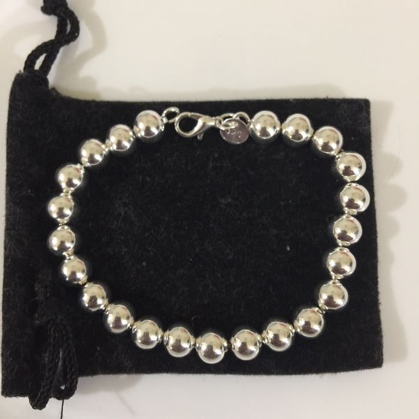 """Sterling silver plated 925 stamped 8"""" 5mm balls beads bracelet jewelry bangle"""