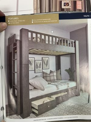 Gorgeous twin bunk beds! One of a kind amazing sturdy bunkbeds with drawers! Mattress is sold separately! Antique Grey ! Gorgeous! for Sale in Tempe, AZ