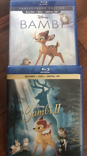 Bambi 1 and 2 Blu-ray, all for 20, Disney marvel Harry Potter the Star Wars movies Bluray and dvd collectibles for Sale in Everett, WA