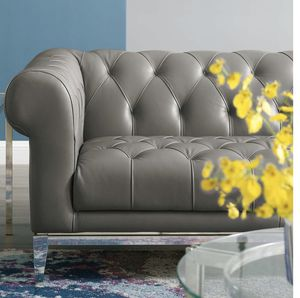 Brand New in The Box Idyll Tufted Button Upholstered Leather Chesterfield Loveseat / Sofa / Couch in Gray for Sale in Orlando, FL