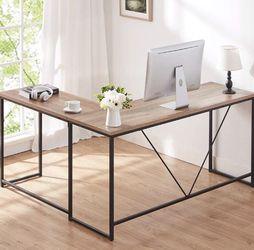 L Shaped Computer Desk, Metal and Wood Rustic Corner Desk Rustic Oak 59 x 55 Inch for Sale in Rancho Santa Margarita,  CA