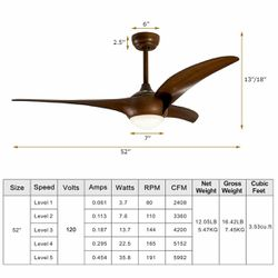 52 Low Profile Ceiling Fan with LED Light for Sale in Wildomar,  CA