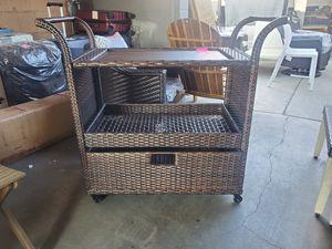 Wicker serving cart for Sale in Fontana, CA