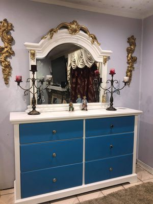 Real wood dresser with very big beautiful mirror for Sale in Pomona, CA