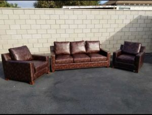 Brand New 3pc Garrison Leather sofas for Sale in Upland, CA