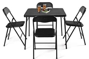 New 5PC Black Folding Table Chair Set Guest Games Dining Room Kitchen Multi-Purpose for Sale in Hacienda Heights, CA