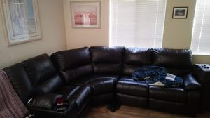 Beautiful 3-Piece Leather Couch-3 built-in recliners for Sale in Desert Hot Springs, CA