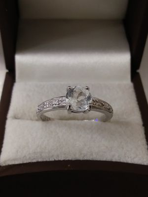 New Solid 925 Sterling Silver Engagement WHITE TOPAZ & DIAMOND ring size 7 $65 OR BEST OFFER for Sale in Phoenix, AZ