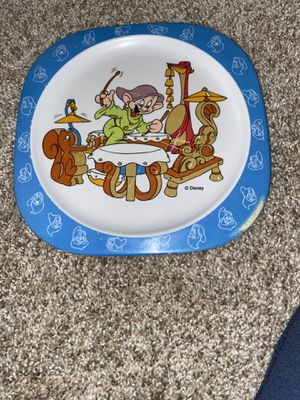 "Melamine Selandia Disney Snow White Dwarf Dopey Plate 8"" Plastic Child Dinnerwar for Sale in Mokena, IL"