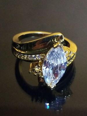 Women's wedding engagement promises ring 18k yellow gold Finished over silver size 6.0 for Sale in Beloit, WI