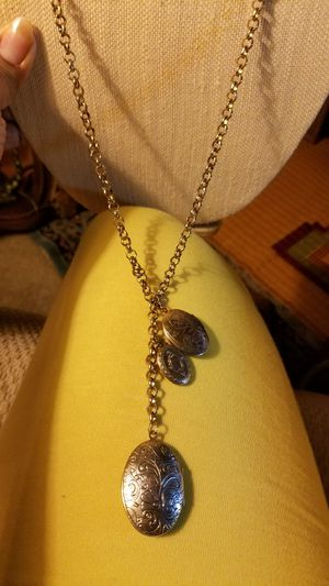 Long golden necklace with 3 lockers pendant for Sale in Tacoma, WA