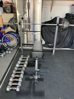 Olympic weights,barbell, dumbbells, and bench for Sale in Tampa, FL