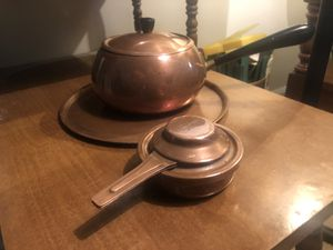 Vintage 1970's Metawa Holland Copper Sauce Pan/Fondue Pot 6 Cup with Bakelite Handle and Knob and Copper Tray and Copper Heat Source for Sale in Columbus, GA