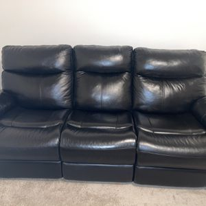 Electric Reclining Real Leather Couch for Sale in Severn, MD
