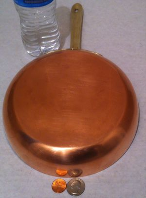 "Vintage Metal Copper and Brass Sauce Pan, Made in Italy, 15"" Long and 8"" Wide, Kitchen Decor, Hanging Decor, Restaurant Quality, Heavy Duty for Sale in Lakeside, CA"