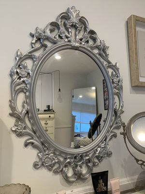 Rustic painted silver wall mirror! for Sale in Beverly Hills, CA