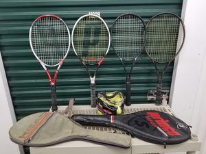 Tennis Rackets 4Pcs ( Prince ) + Balls & 2 Racket cases. for Sale in Lynn, MA