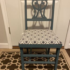 Vintage Solid Wood Chair Hand Painted And Reupholstered for Sale in Vienna, VA