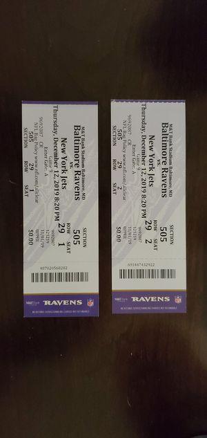 **2** RAVENS vs Jets THURSDAY NIGHT 12/12 for Sale in Fredericksburg, VA