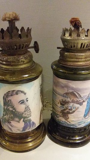 Antique small glass hurricane lamps for Sale in Rocky Mount, NC