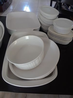 Corningware french white baking casseroles for Sale in Pembroke Pines, FL