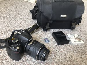 Nikon d3100 with 18-55mm lens, camera case, UV lens protector, & memory card for Sale in San Francisco, CA