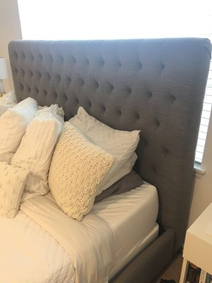 King-size Grey tufted Headboard and Bed Frame for Sale in Portland, OR
