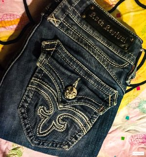 Rock Revival low rise women's size 27 bootcut jeans with fringe LOW PRICE! for Sale in Spencer, IN