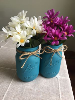 Distressed mason jar vases with silk flowers included! You choose the jar/flower colors $10 for both for Sale in Plainfield, IL