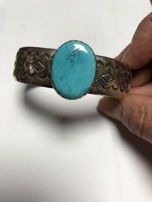 Vintage signed Native American turquiose cuff bracelet for Sale in Wayland, MA