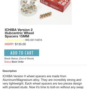 Ichiba V2 Wheel Spacers 18mm for Sale in San Jose, CA