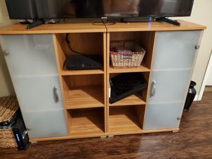 Bookshelves/TV Stand/ Wall Unit- light wood color with frosted glass for Sale in Boynton Beach, FL