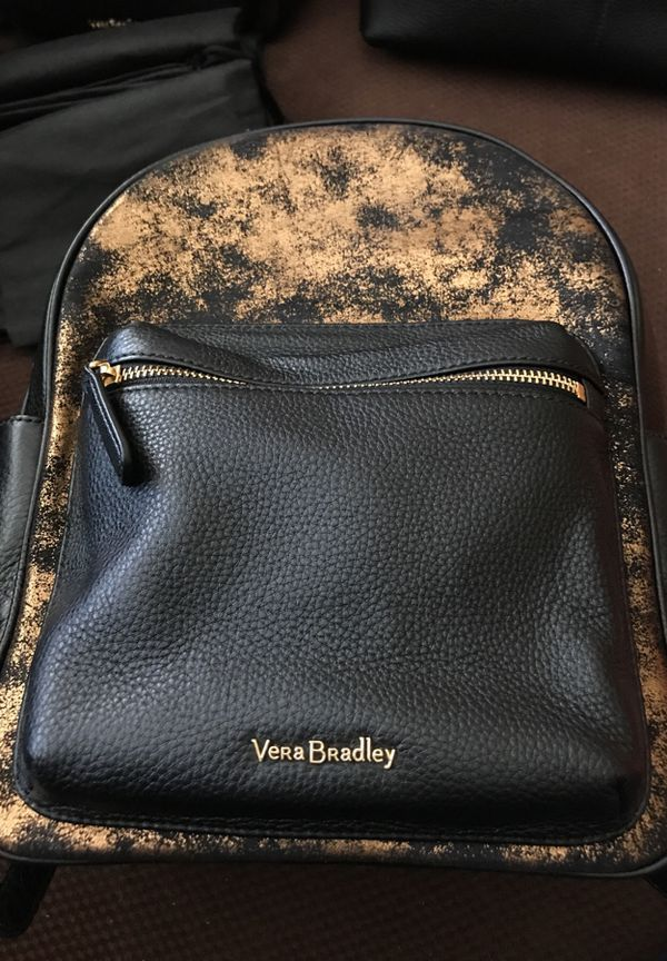 8a3a5a3beb Vera Bradley Amy Backpack Indigo Denim W black Leather WOW for Sale ...
