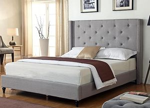 GRAY Queen Bed with Mattress Set FREE Delivery Drop off $450 for Sale in Dallas, TX