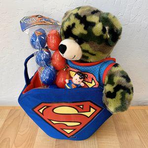 Superman Fan Easter Toy Lot, BAB Build A Bear Workshop Camouflage Teddy Bear Wearing Superman Mesh Tank Top (Not BAB), Superman Plastic Easters Eggs for Sale in Elizabethtown, PA