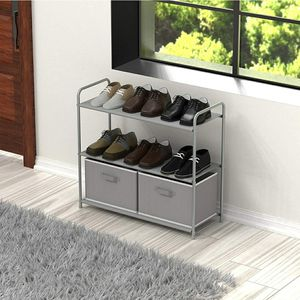 Gray 3-Tier Closet Storage with 2 Drawers, Shoe Rack, Organizer for Sale in Los Angeles, CA