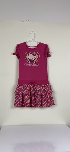 Girls pink yellow kitty dress size 6 for Sale in Austin, TX