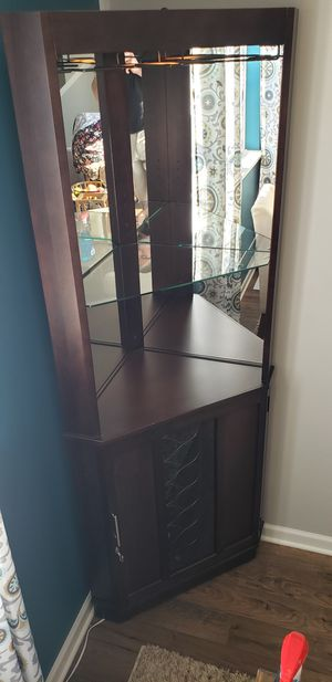 **Reduced** Espresso Corner Bar Wall Unit, Mint Condition for Sale in Lino Lakes, MN