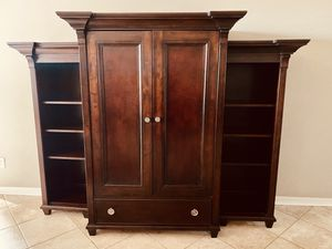 Lanes Gramercy Park TV armoire with pocket doors and double bookshelves for Sale in Clermont, FL