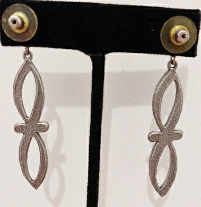 Antiqued Silver Infinity Long Drop Earrings