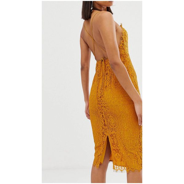 ASOS DESIGN square neck lace midi dress