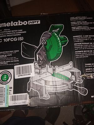 "Metabo HPT C10FCGS 10"" Compound Miter Saw, 15-Amp Motor, Single Bevel, 0-52 for Sale in San Bernardino, CA"