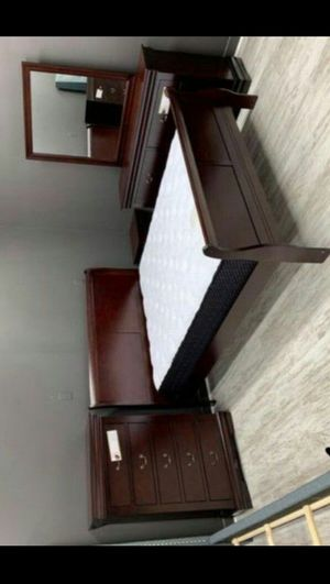 SAME DAY DELIVERY 🚩Louis Cherry {Queen,King,Full,Twin} Bedroom Set 🚩Bed, Dresser, Mirror, Nightstand Included for Sale in Houston, TX