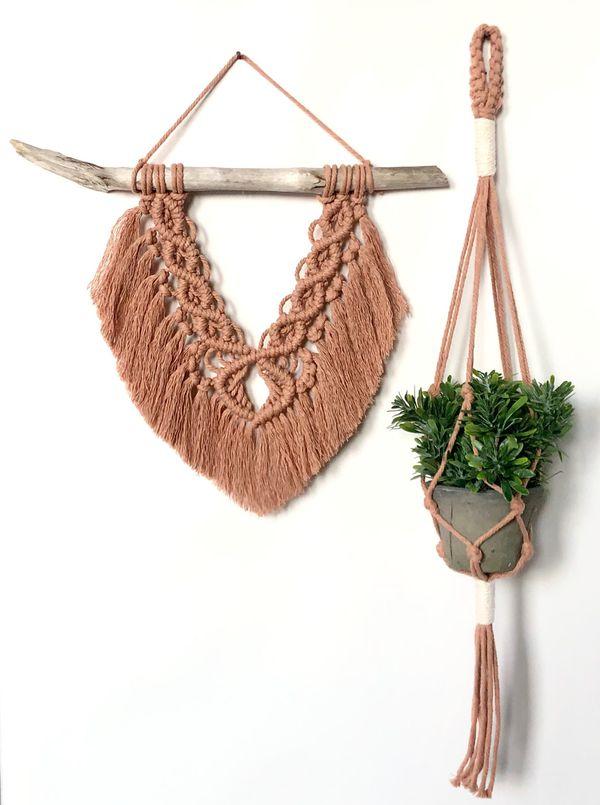 Handmade Terra-cotta Macrame and Plant Holder