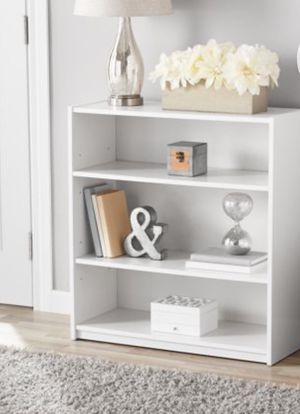 "New!! Bookcase, bookshelves, organizer, 31"" 3 shelves bookcases , storage unit, living room furniture, entrance furniture , white for Sale in Phoenix, AZ"