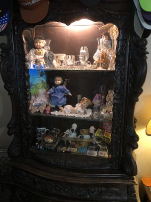 Antique Hand Carved Display Cabinet with drawers for Sale in Gaston, SC