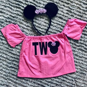 Adorable TWO Minnie Mouse Second Birthday Shirt & Headband Ears for Sale in Long Beach, CA
